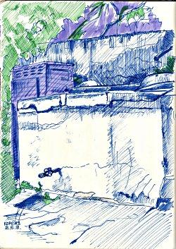 Бассейн и подпорная стена * архитектура * рисунок