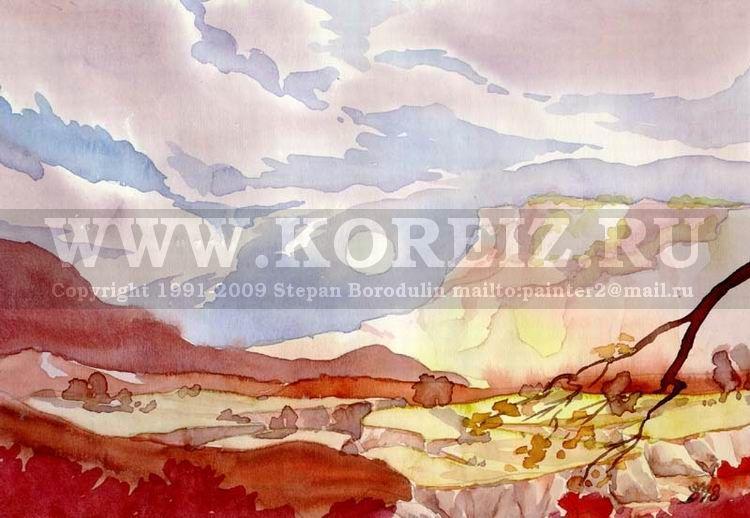 Горы в районе алушты пейзаж акварель
