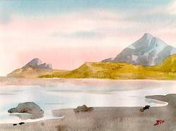 Залив и скалы * фэнтези * акварель