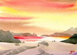 Красно-желтый пейзаж * фэнтези * акварель