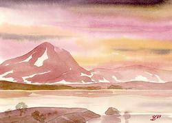 Гора в бордовой гамме * фэнтези * акварель