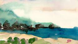 Набросок морского побережья * марина * акварель