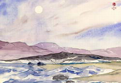 Ветер над заливом * пейзаж * акварель