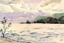 Зима на море * марина * акварель