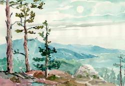 Вид на Ялту с гор * пейзаж * акварель