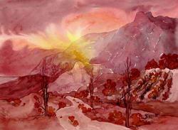 Заход Солнца за Ай-Петри * пейзаж * акварель
