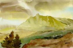 Ай-Петри в зимнем крымском пейзаже * пейзаж * акварель