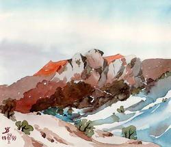 В горах зимой * пейзаж * акварель