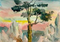 Дерево в горах Крыма * пейзаж * акварель
