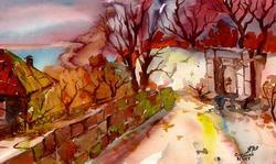 Осенний вечер. Кореиз * пейзаж * акварель