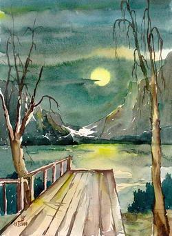 Картинка ночное озеро с луной и