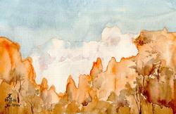 Вид Ай-Петри зимой * пейзаж * акварель.